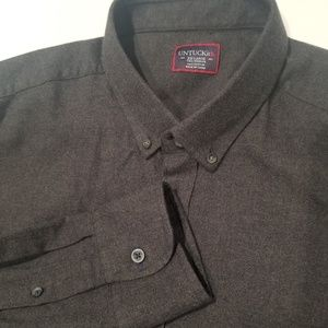 UNTUCKit Gray Cotton Flannel Button Down Shirt XXL